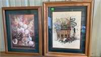 2 FLORAL PICTURES WITH GREEN MATTING