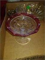 2 FROSTED BOWLS, CLEAR BOWL, LITTLE CANDY BOWL,
