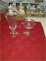 16 SILVER TIPPED SHERBET AND 10 GLASSES