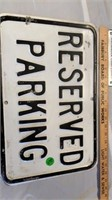 RESERVED PARKING AND CONTAINS LEAD SIGN