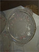 SET OF CLEAR AND FROSTED POINTSETTA GLASSWARE-
