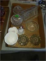 BOX OF GLASSWARE AND CANDLE HOLDERS