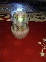 SILVERPLATED SUGAR BOWL,  GLASS CANDLEHOLDER,