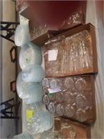 SET OF GLASSWARE, 24 PLATES, 12 BOWLS, 23 SALAD