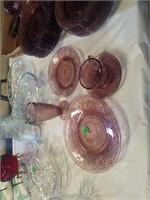 SET OF ANTIQUE PURPLE CUT AMETHYST GLASSWARE