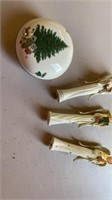 """3 WOODEN ANGELS ABOUT 6"""" AND CERAMIC LITTLE"""