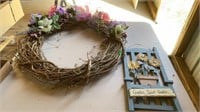 """SPRING WREATH 23"""" AND HANGING GARDEN SIGN"""