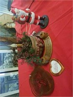 LIGHTED HOLIDAY BASKET AND WOOD CANDLE HOLDER,