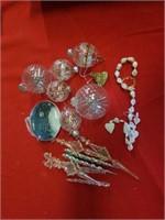 PLASTIC CHRISTMAS ORNAMENTS,  2 GLASS ORNAMENTS