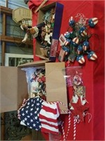 BOXES OF FOURTH OF JULY DECORATIONS,  FOURTH OF
