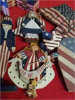 BOX FULL OF WOOD FOURTH OF JULY DECORATIONS