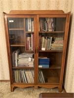 Pine bookcase w/ glass doors