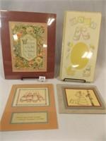 Antique Card, Matted, Art, Mat (4)