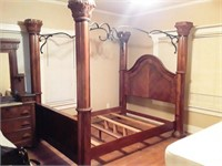 King Size Bed with Pillars