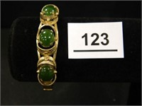 Bracelet w/3 Green Stones; Sterling
