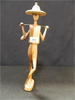 """Wooden Figure Carrying Jug; 18"""" h."""