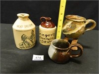 Crock and Pottery Items; (4)