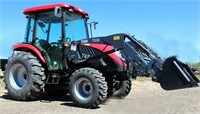 2017 TYM T454, w/TYM TX55 FE Loader, MFWD, 325 hrs, cab, air/heat, 45-hp Kioti diesel eng, 2000 lb lift capacity on FE loader, 3-pt, pto, 2-pt rem, QA bucket, bale spear, exc cond, 22 hrs on full service, SN: 458TJ00156.  NOTE: This item will be sold at live auction, however absentee bids can be placed if you are unable to attend the auction. More details, video & pictures can be viewed by clicking the catalog tab and view Lot #1.