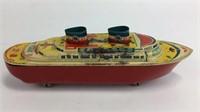 Vintage Metal Ship on Wheels