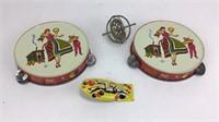 Vintage Retro Toy MFG Co. Tamborines & Clicker +