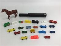 Lot of 20+ Vintage Plastic & Metal Cars + More