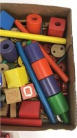 Large Lot of Vintage Tinkertoys and Wooden Blocks