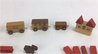 Vintage Miniature Wood Zoo & Train Toys