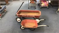 Vintage Children's Wheelbarrow & Radio Flyer Wagon