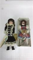 2 Franklin Heirloom 1984 Porcelain Dolls in Boxes