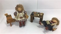 2 Lizzie High Wooden Easter Themed Dolls