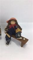3 Lizzie High Wooden Dolls w/ Benches