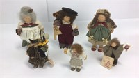 6 Lizzie High Wooden Christmas Themed Dolls +