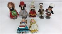 7 Vintage Plastic International Dolls