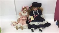 2 Betty Jame Carter Musical Porcelain Dolls