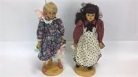 2 Robert Raikes Original Wooden Dolls w/ Stands