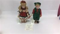 2 Bette Ball Musical Porcelain Dolls w/ Stands
