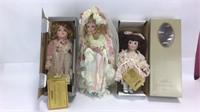 3 Vintage Porcelain Mann Dolls