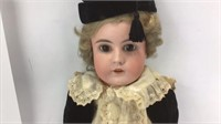 """Antique Open Mouth w/Teeth Porcelain Doll 20"""" H"""