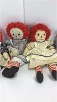 5 Vintage Raggedy Ann Dolls