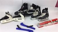 3 Pair Ice Skates Black & White