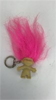 Vintage Troll Keychain Pencil Topper Pink Hair
