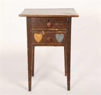 Two-Drawer Table with Hearts, Ontario, Circa 1835