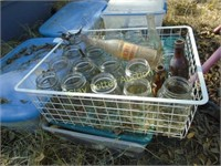 Basket of old glass