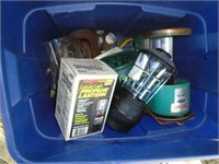 Tote of camping items