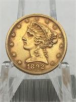 1892CC CARSON CITY $5 GOLD PIECE