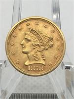 1878 S QUARTER EAGLE ($2.50) GOLD COIN