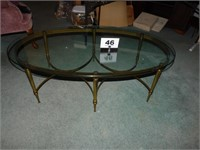 BRASS BASE GLASSTOP OVAL COFFEE TABLE