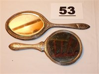 (2) SILVER PLATE HAND MIRRORS
