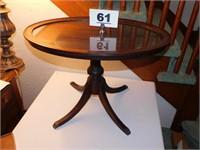 GLASSTOP MAHOGANY END TABLE