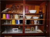 KITCHEN CUPBOARD LOT -GLASSES & MORE